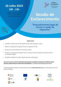 """Cartaz SE """"Enquadramento legal do acesso à saúde de migrantes"""""""