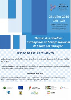 """Flyer SE para migrantes - """"Acesso dos cidadãos estrangeiros ao Serviço Nacional de Saúde em Portugal"""